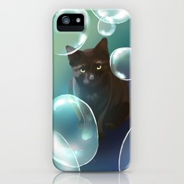 The cat and the bubbles iPhone Case