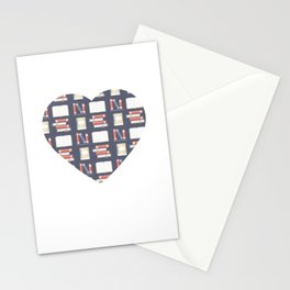 A Beautiful Heart With Books Motive for a Bookworm Stationery Cards