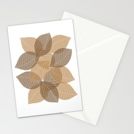 Fall Brown Leaves Stationery Cards