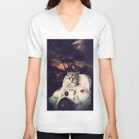 cheetah V-neck T-shirts featuring Cheetah by Nicholas Redfunkovich