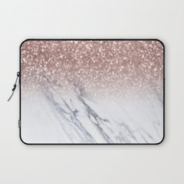 She Sparkles Rose Gold Marble Luxe Laptop Sleeve