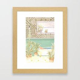 Girl in the bathroom Framed Art Print