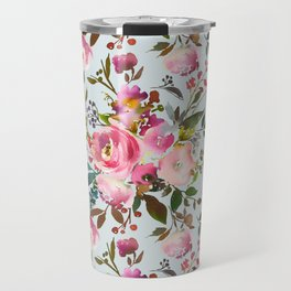 Elegant girly pink coral lilac green watercolor floral Travel Mug