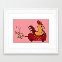 sriracha Framed Art Prints featuring Sriracha Cha Cha - Pink by Gina Perry