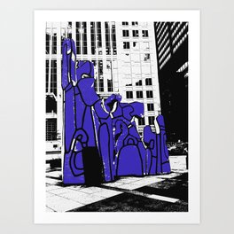 Chicago art print - art sculpture, 'Monument with Standing Beast' - urban photography Art Print