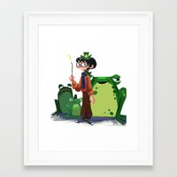 merlin Framed Art Prints featuring Merlin by Erin Eng