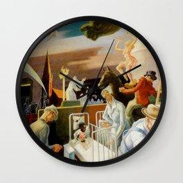 Classical Masterpiece 'A Social History of Indiana' by Thomas Hart Benton Wall Clock