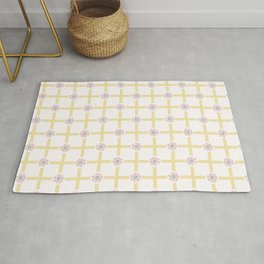 1950s Style Flower Daisy Gingham Seamless Pattern Rug