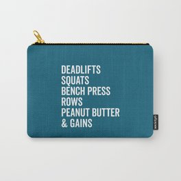 Peanut Butter & Gains Gym Quote Carry-All Pouch