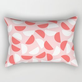 Semi Circles Red and White on Pink Rectangular Pillow