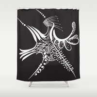 snowflake Shower Curtains featuring Snowflake by Bazarovart