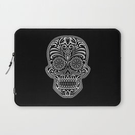 Intricate White and Black Day of the Dead Sugar Skull Laptop Sleeve