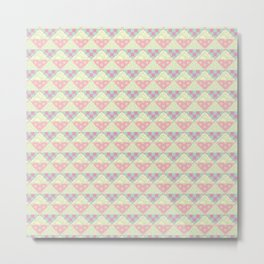 Japanese Style Patchwork Pattern in Pink, Green & Yellow Metal Print