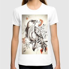 Bird eating branches T-shirt