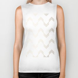 Simply Deconstructed Chevron White Gold Sands on White Biker Tank