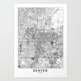 Denver White Map Art Print