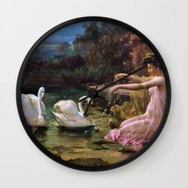 Swan At The Lake - Hans Zatzka Wall Clock