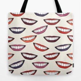 Beautiful female smile with colorful lipsticks Tote Bag