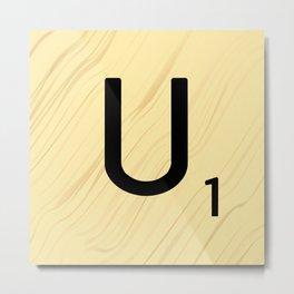 Scrabble U Initial - Large Scrabble Tile Letter Metal Print