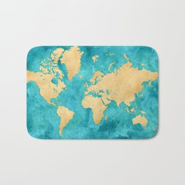 "Teal watercolor and gold world map with countries and states ""Lexy"" Bath Mat"