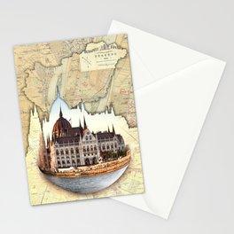 Budapest Globe Map Stationery Cards