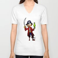 pirate V-neck T-shirts featuring Pirate by Cardvibes.com - Tekenaartje.nl