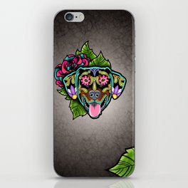 Doberman with Floppy Ears - Day of the Dead Sugar Skull Dog iPhone Skin