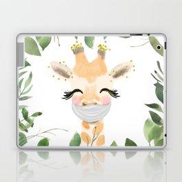 Against Virus - Hand Drawn Watercolor Giraffe With Mask Laptop & iPad Skin