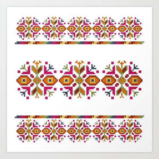 Bulgarian embroidery pattern Art Print