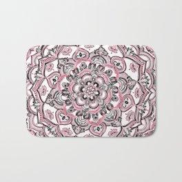 Magical Mandala in Monochrome + Pink Bath Mat