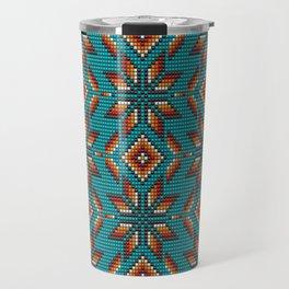 Modern colorful beaded boho aztec kilim pattern on teal Travel Mug
