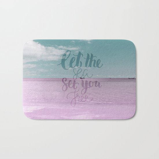 Let the Sea set you Free- Pink Summer Beach Sea Ocean Nature on #Society6 Bath Mat
