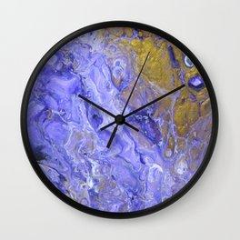 Purple Waves, pouring abstract acrylic Wall Clock
