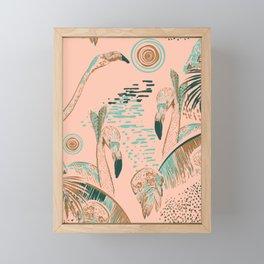 Flamingos in linocut look Framed Mini Art Print