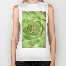 Cactus Green Succulent with Faux Gold Tips Biker Tank