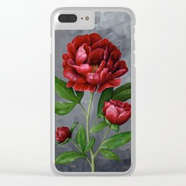Red Peony Flower Painting Clear iPhone Case