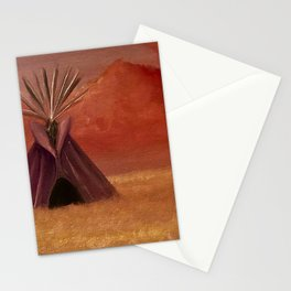 Purple Tipi in the Field Stationery Cards