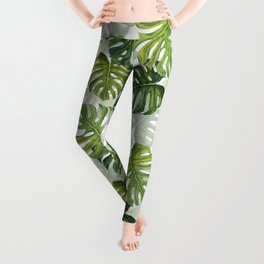 Tropical Monstera Leaf Pattern Leggings