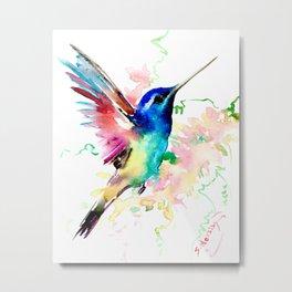 Hummingbird , Blue Turquoise Pink Metal Print