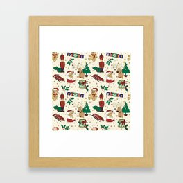 Christmas deer,bear,cat and Nutcracker SB14 Framed Art Print