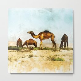 Camels in the Desert Metal Print