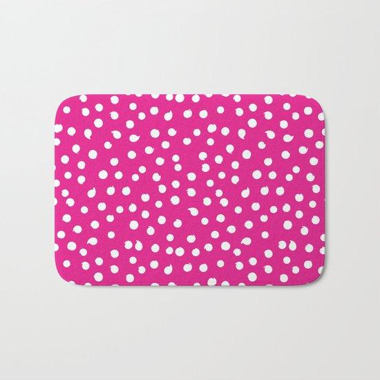 White Dots Polkadots on pink background - Mix & Match Bath Mat
