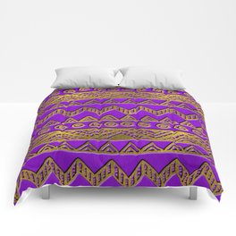 Ethnic  Golden Pattern  Swirl on Purple Leather Comforters