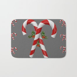 RED-WHITE  CHRISTMAS CANDY CANES HOLLY BERRIES Bath Mat