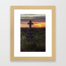 Cross at sunset Framed Art Print