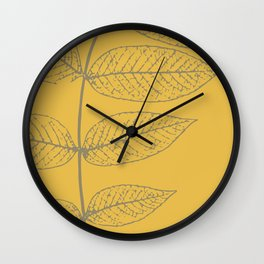Leaves, Gray and Yellow Ochre Wall Clock
