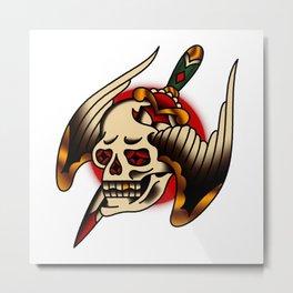 American Traditional Pierced Winged Skull Metal Print