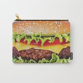 Hamburger burger sandwich cooked patties bread roll bun Carry-All Pouch