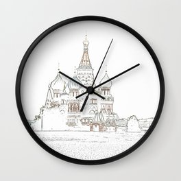 Saint Basil's Cathedral (on white) Wall Clock