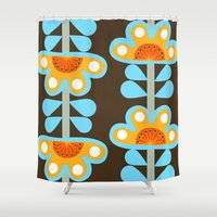 swedish Shower Curtains featuring swedish flowers by Wee Jock